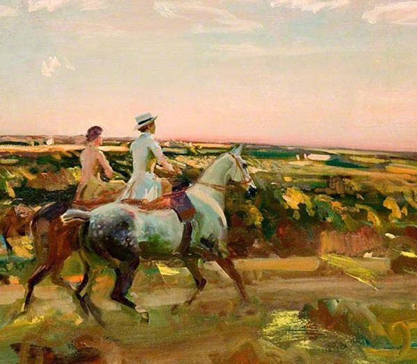 alfred-munnings-two-lady-riders-evening-sky