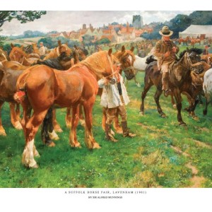 A Suffolk Horse Fair, Lavenham - Copyright the estate of Sir Alfred Munnings